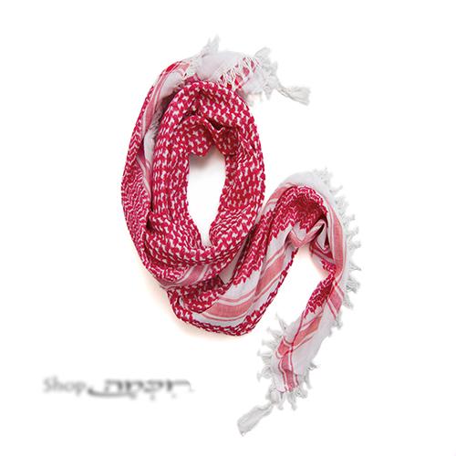 כאפייה מקורית גדולה בצבע אדום - לבן בסגנון ירדני עם פרנזים