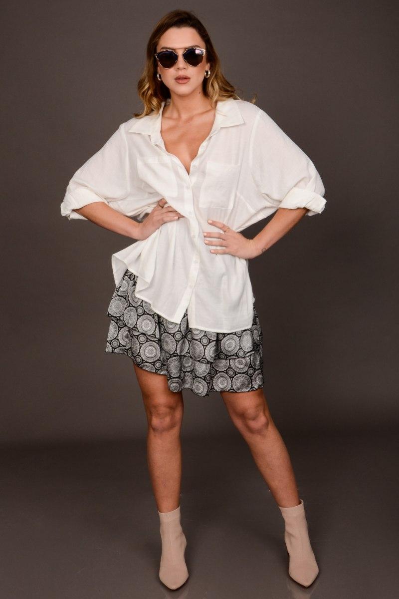 חולצת אוברסייז קרולין לבן/זית/אופייט