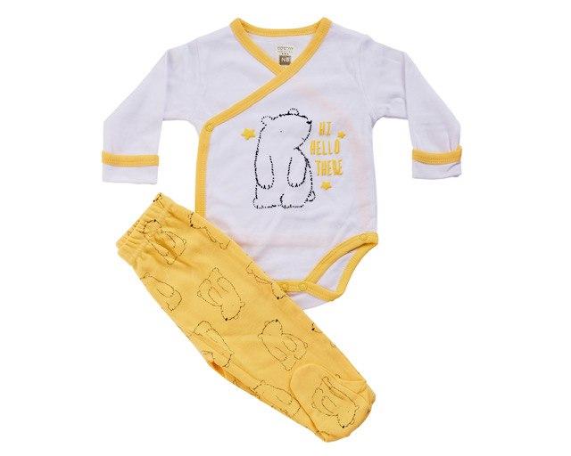 חליפת חזייה דב לבן-צהוב טריקו