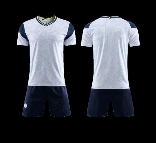 תלבושת כדורגל צבע לבן שחור דמוי טוטנהאם (לוגו+ספונסר שלכם)