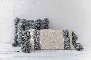 זוג כריות שאגי מרובעת אפור וארוכה אפור-לבן