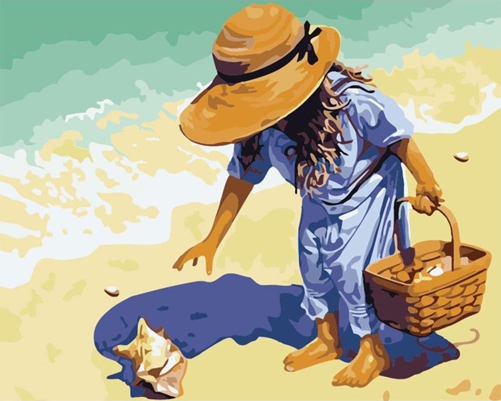 צביעה לפי מספרים - איסוף צדפים בחול