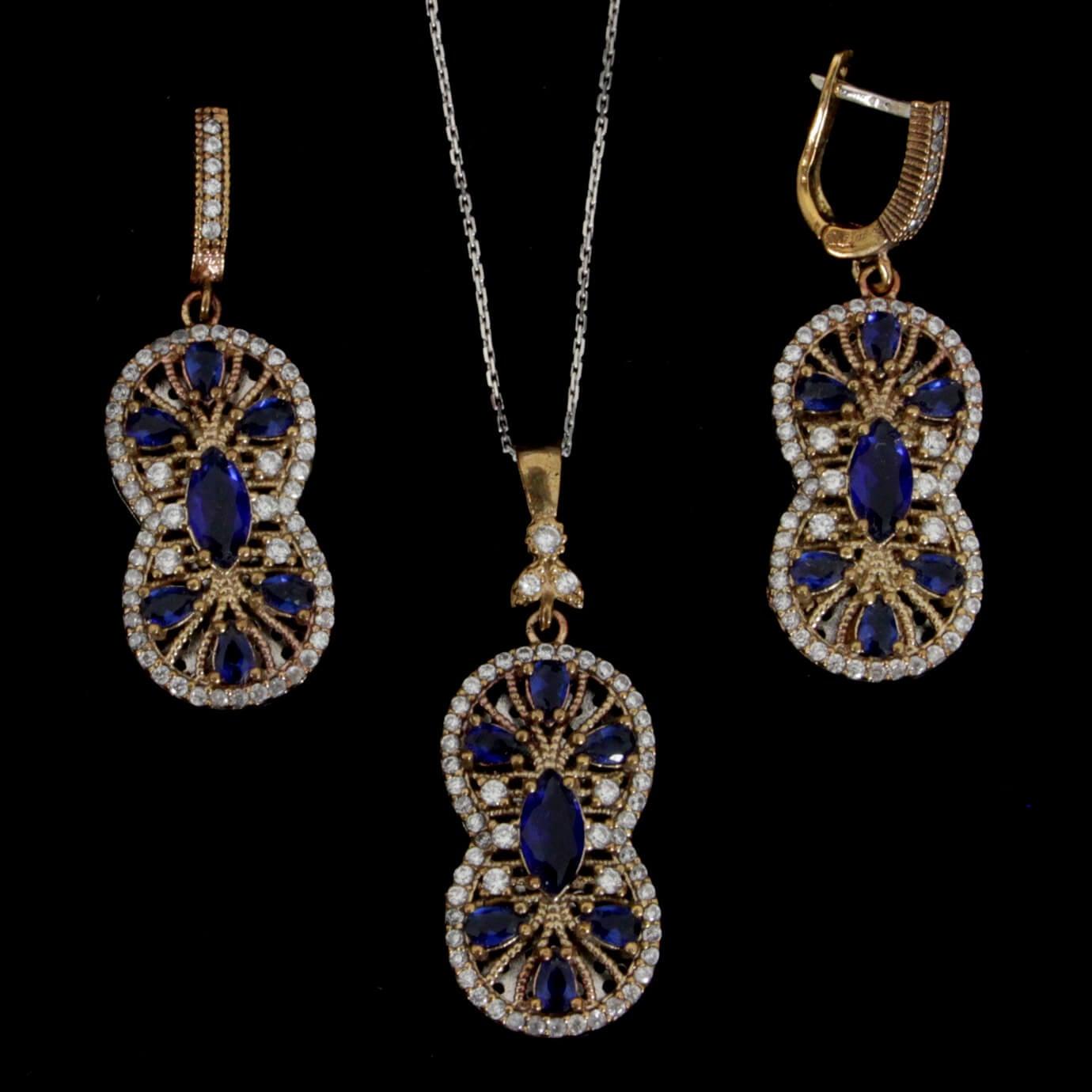 סט כסף עגילים ותליון סגנון ויקטוריאני משובץ קוורץ כחול וזרקונים S1361