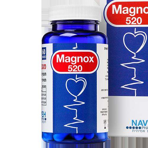 """--  מגנוקס 520  --  Navehpharma - מכיל 60 כמוסות ן 520 מ""""ג"""