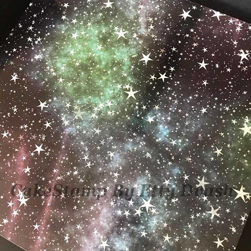 5 יחידות כוכבים בשמיים - טפט חזק ואיכותי לעיטוף משטח עוגה.