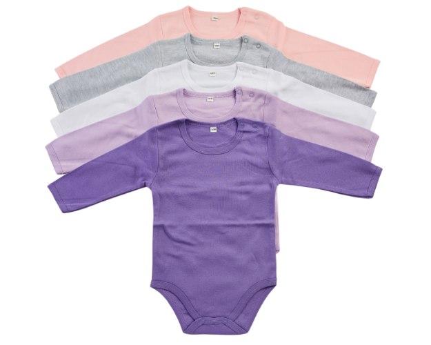 מארז 5 בגדי גוף ורוד בייבי-אפור מלאנג'-לבן-סגול לילך-סגול