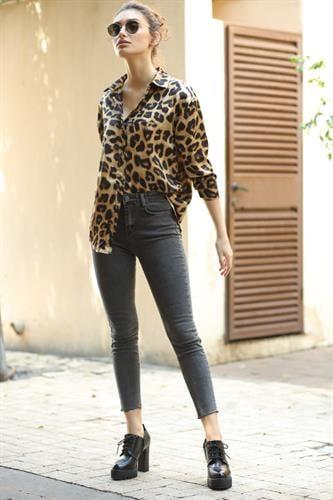 ג'ינס סקיני בראדלי אפור גזור