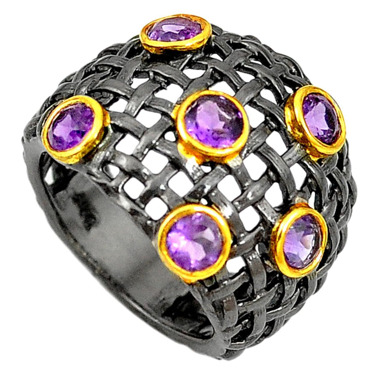 טבעת כסף מעוצבת משובצת אבני אמטיסט סגולות RG5754 | תכשיטי כסף 925 | טבעות כסף