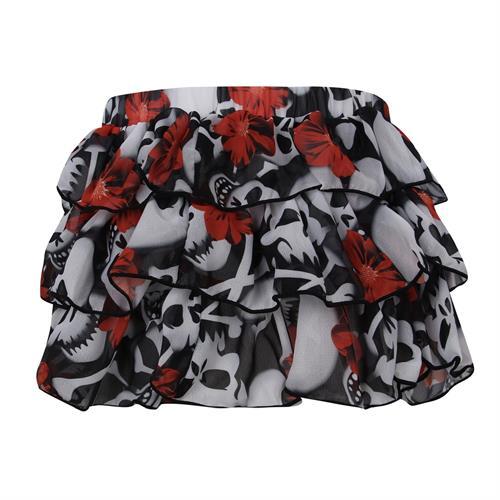 חצאית קומות הדפס גולגולות ופרחים VIEW