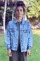 ג'קט ג'ינס סאני תכלת אוברסייז