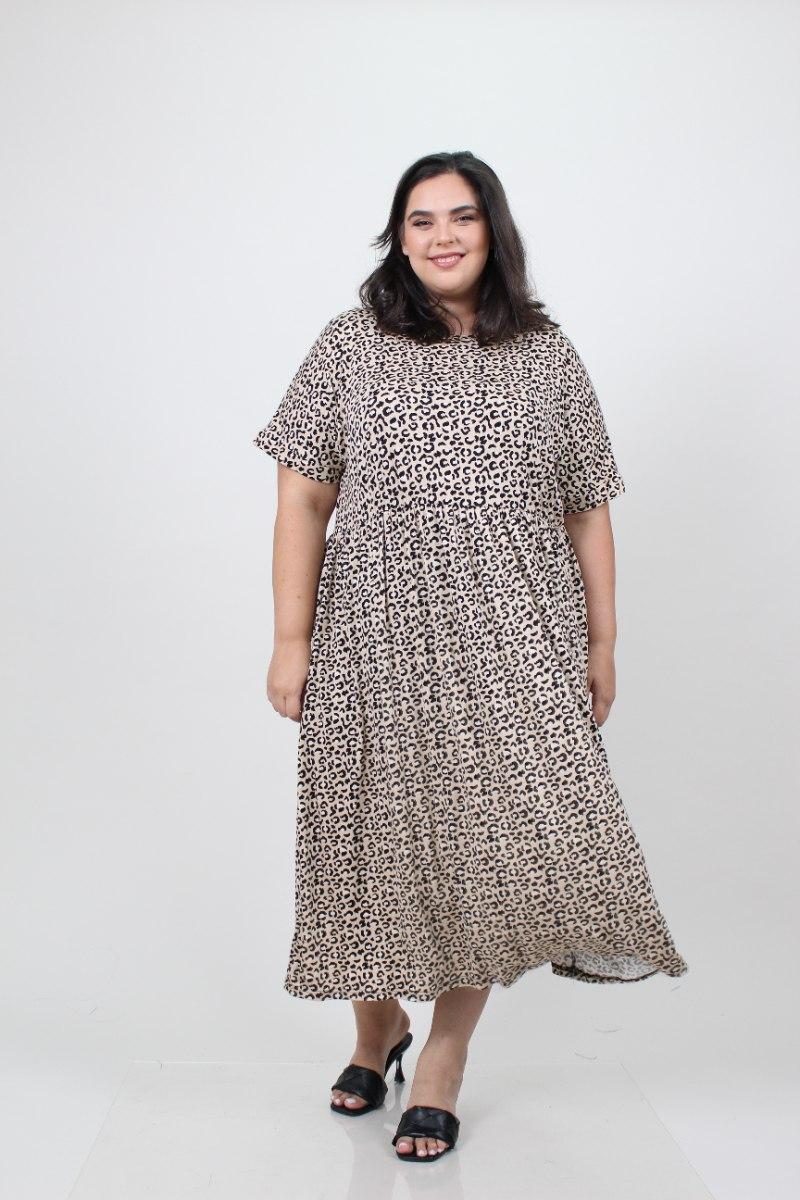 שמלת בריטני טריקו מנומר חום