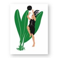 """אשה משחקת כדורסל - מתוך """"החיים יפים"""", הסדרה האופטימית"""