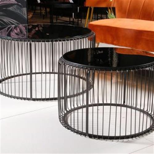 זוג שולחנות סלון מתכת+זכוכית LONCOLN  מידות: 60X38 80X42