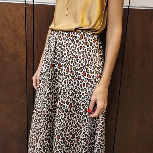 חצאית סאטן משי ג'ני -מנומר