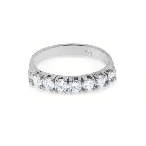 טבעת אירוסין זהב לבן 7 אבנים