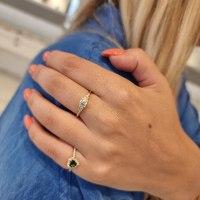 טבעת לב אבן חן ויהלומים