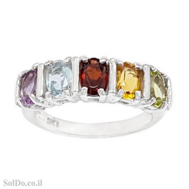 טבעת מכסף משובצת אבני אמטיסט, גרנט, בלו טופז, סיטרין ופרידוט RG1732