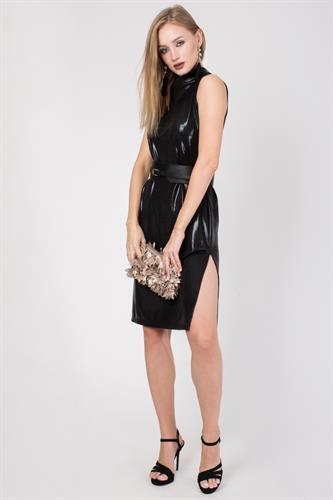 שמלה קצרה שחור מטאלי