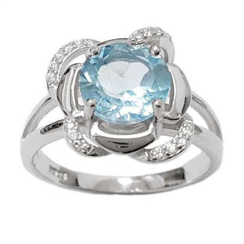 טבעת כסף משובצת טופז כחול וזרקונים RG5619 | תכשיטי כסף 925 | טבעות כסף
