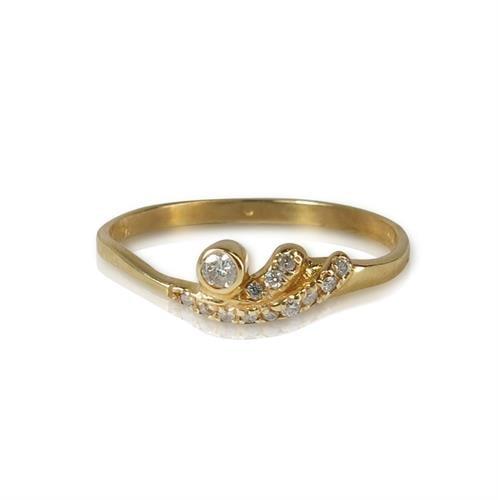 טבעת זהב 14K משובצת יהלומים 0.10 קראט