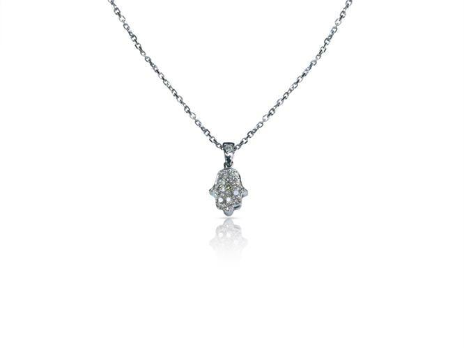 שרשרת ותליון חמסה משובץ יהלומים בזהב 14 קאראט