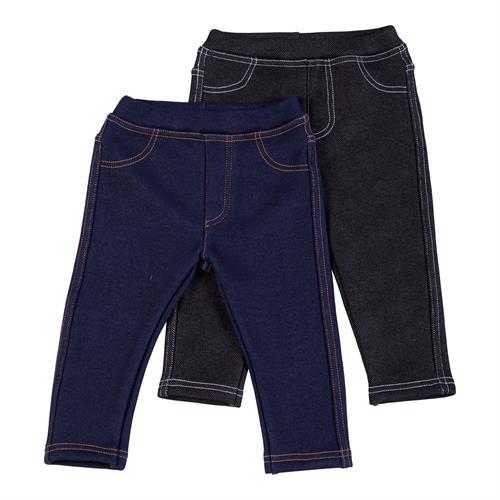 זוג מכנסיים דמוי ג'ינס פלנל ארוך ללא כיסים