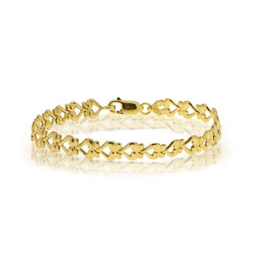צמיד יד איטלקי לבבות לאשה זהב 14 קרט