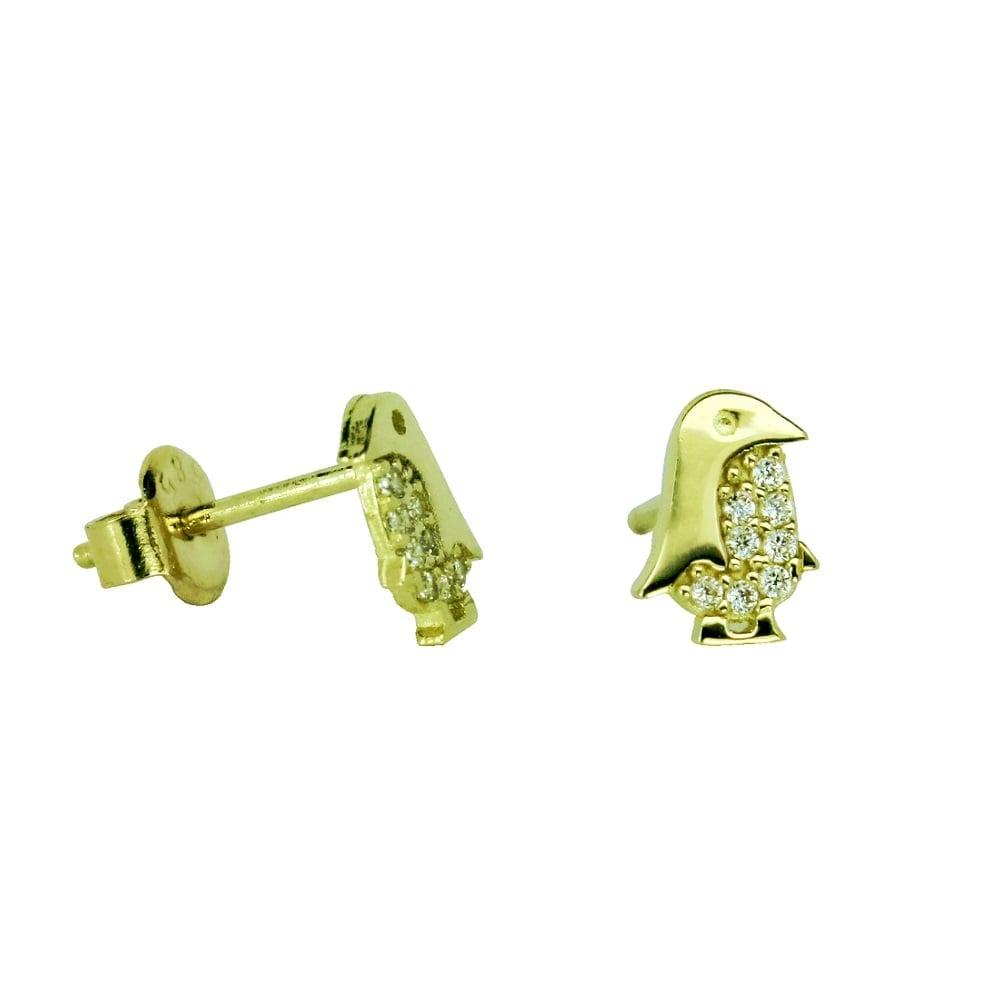 עגילי זהב 14 קרט עם זרקונים צמוידם לאוזן בצורת פינגוין