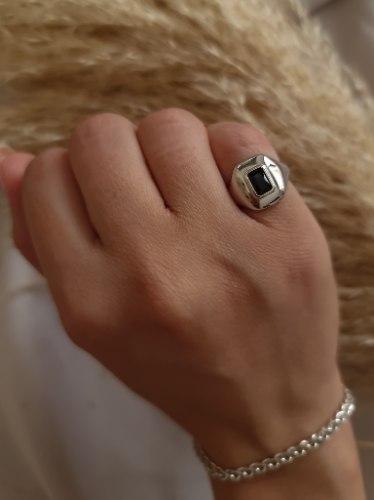 """טבעת כסף אבן שחורה """"בלן"""""""