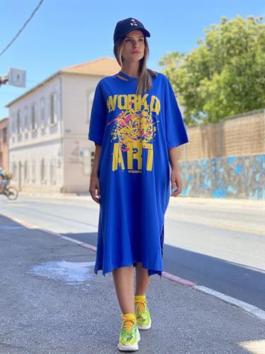 שמלת מודפסת שילוב כיווץ