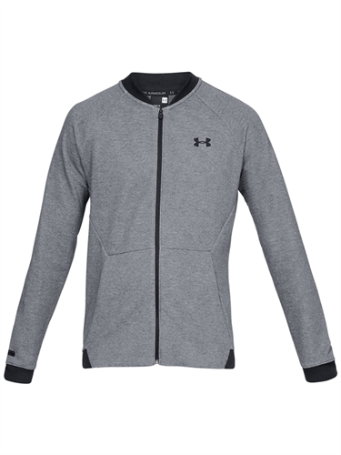 ג'קט אנדר ארמור אפור לגבר 1320723-035 Under Armour Unstoppable Double Knit Bomber Jacket