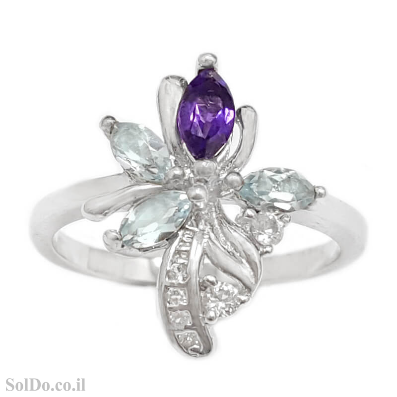 טבעת מכסף משובצת אבני טופז כחולות, אמטיסט  וזרקונים RG1649 | תכשיטי כסף 925 | טבעות כסף