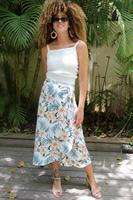 חצאית מעטפת פרחים ורוד תכלת