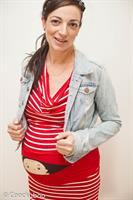 שמלת הריון פסים אדום לבן תינוק מציץ עם פטנט החגורה המתקפלת