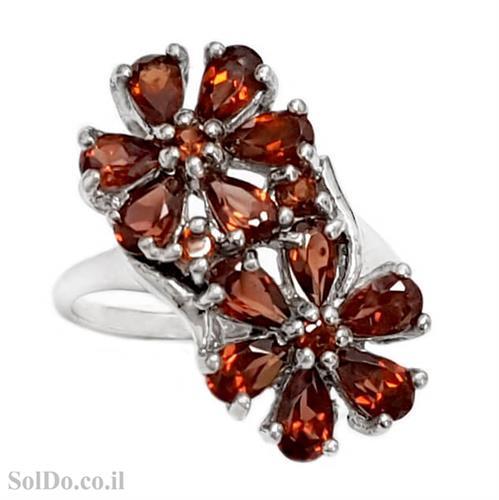 טבעת מכסף משובצת אבן גרנט RG6164 | תכשיטי כסף 925 | טבעות כסף