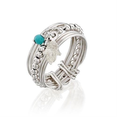 טבעת מיני ספירלי לבן עם טיפת מזל