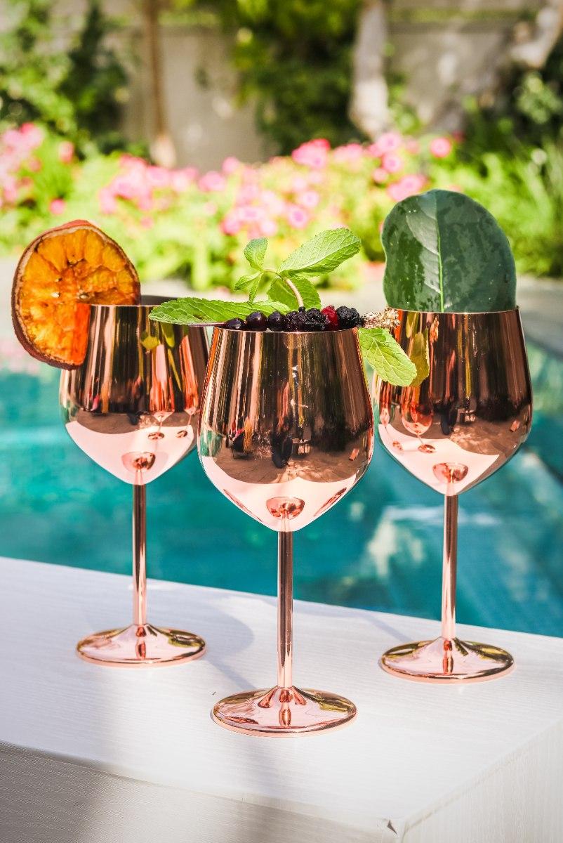 סט כוסות יין גולד רוז שלישיה