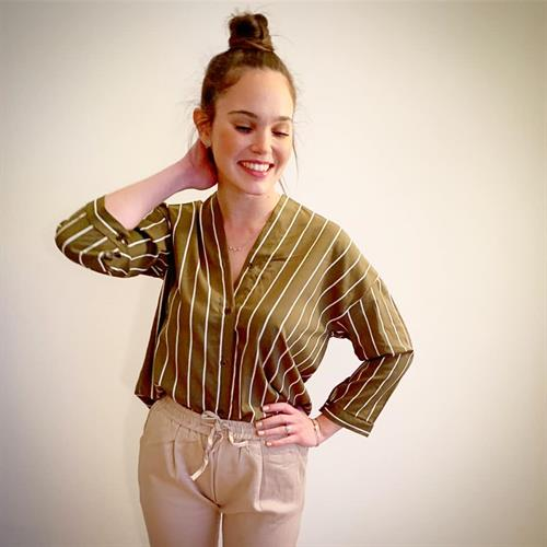 חולצת פיס צווארון - זית
