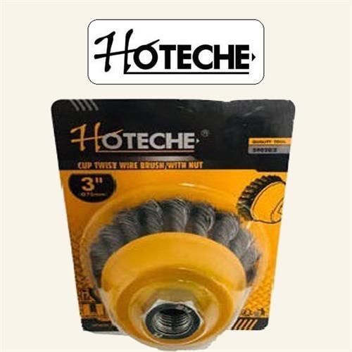 """מברשת פלדה כוס צמות מקצועית 3""""  מבית חברת HOTECHE"""