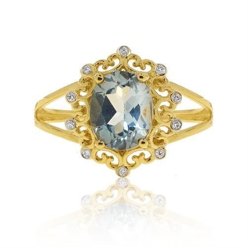 טבעת בלו טופז ויהלומים בסגנון וינטאג' בזהב 14 קרט