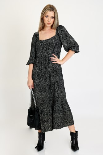 שמלת אוברסייז מיה שחור פרחוני
