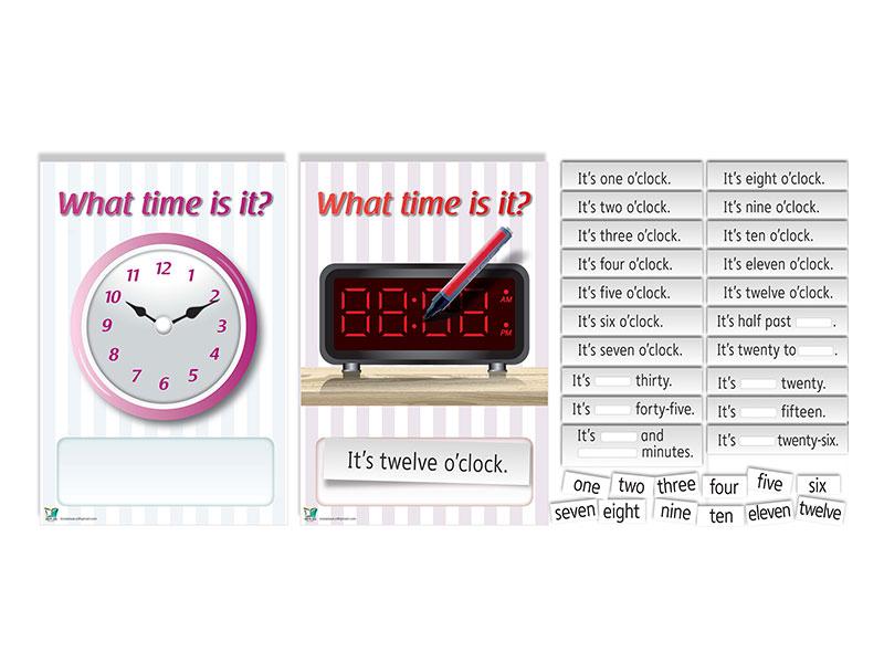 ערכה פעילה וחווייתית ללימוד נושא השעון באנגלית | Clock Poster Game