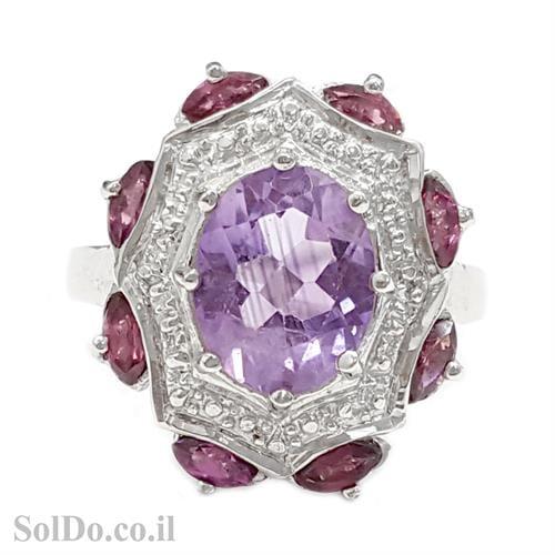 טבעת כסף משובצת אבן אמטיסט, גרנט RG1580 | תכשיטי כסף 925 | טבעות כסף