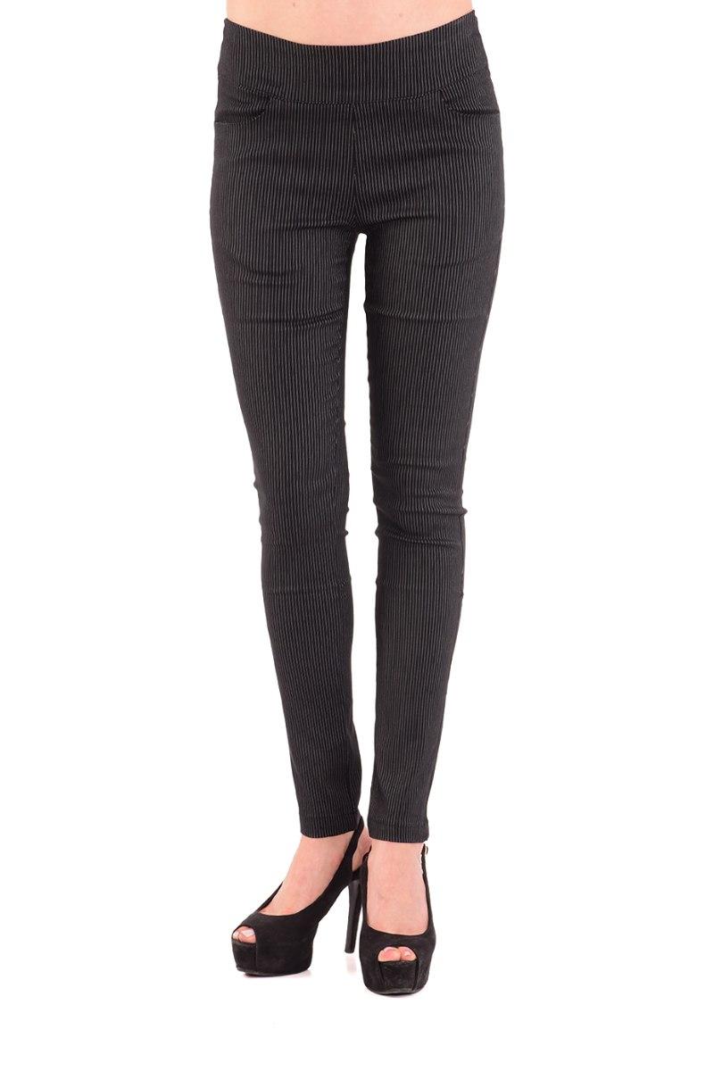 מכנס צמוד ללא רוכסן וללא כפתור בצבע שחור פסים