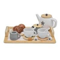 W10B236 - כלי מטבח ומסיבת תה מעץ מלא לילדים, קפיץ קפוץ