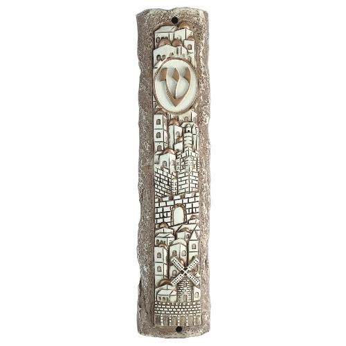 Jerusalem stone-like mezuzah case 20 cm