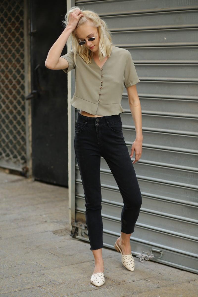 ג'ינס סקיני גבוה שחור סמית'