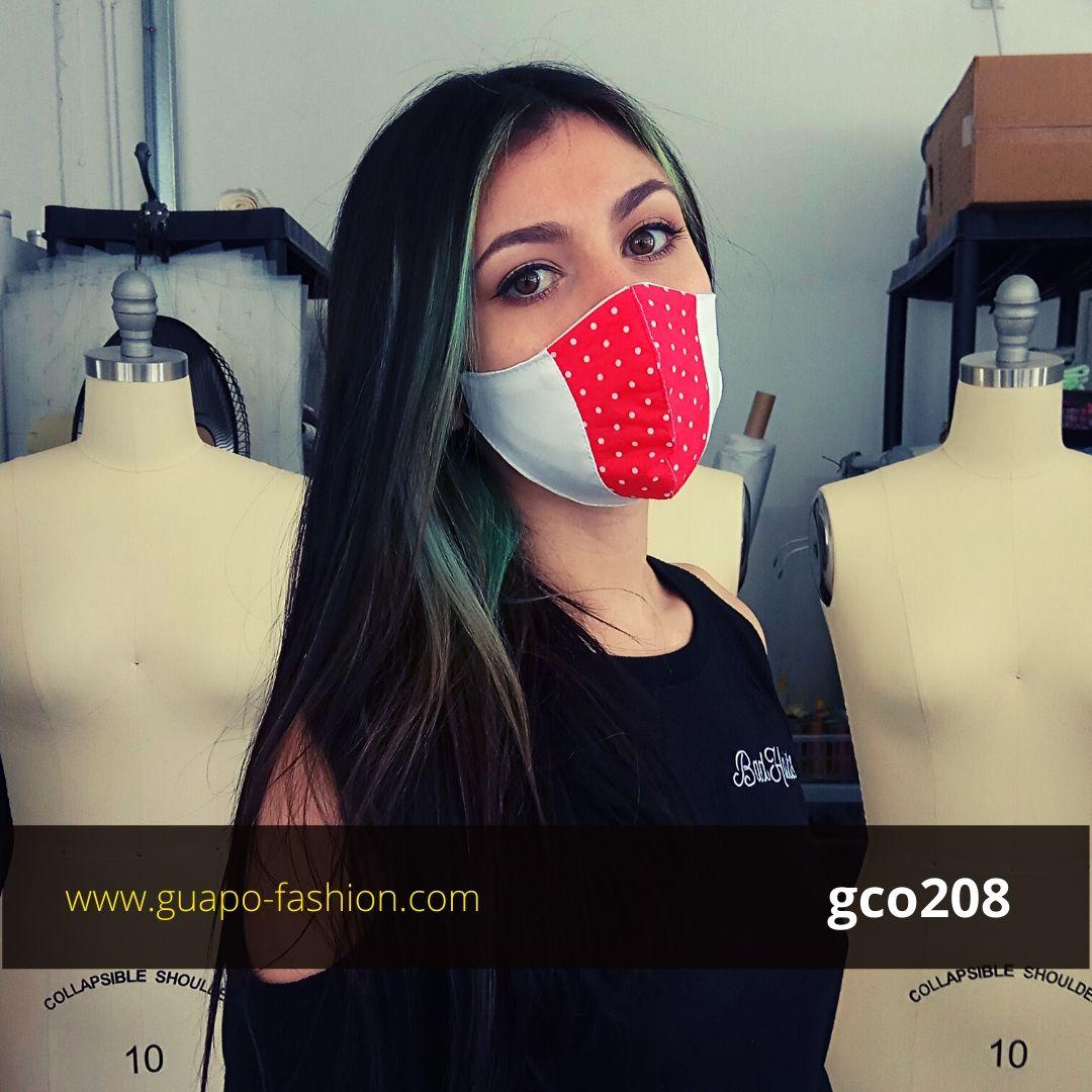 מסכת בד מעוצבת - לבן עם אדום נקודת reusable cotton face coverings