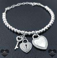 צמיד ליאן לייזר - מפתח הלב - כסף