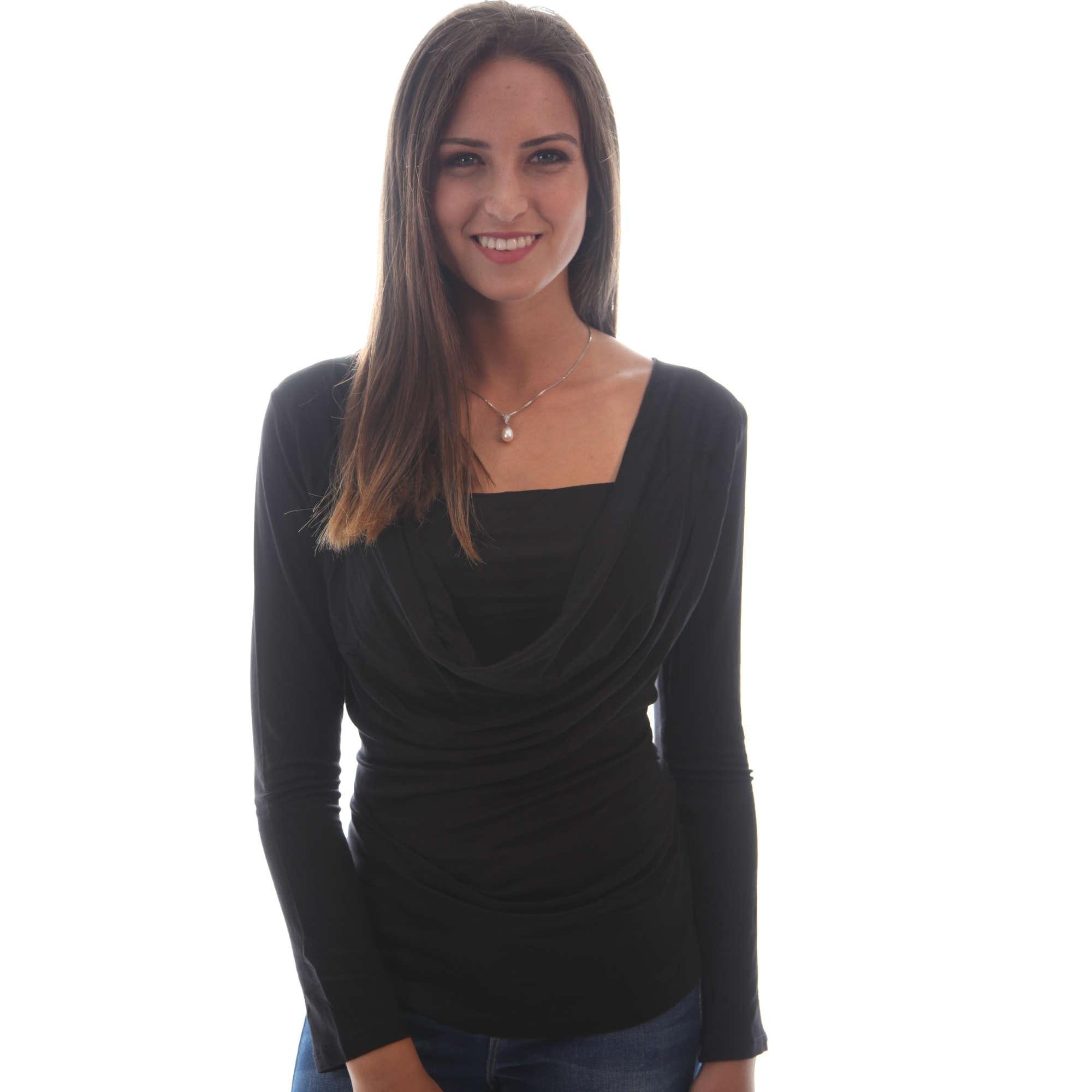 חולצת הנקה רבידה שרוול ארוך Nursing Anywear